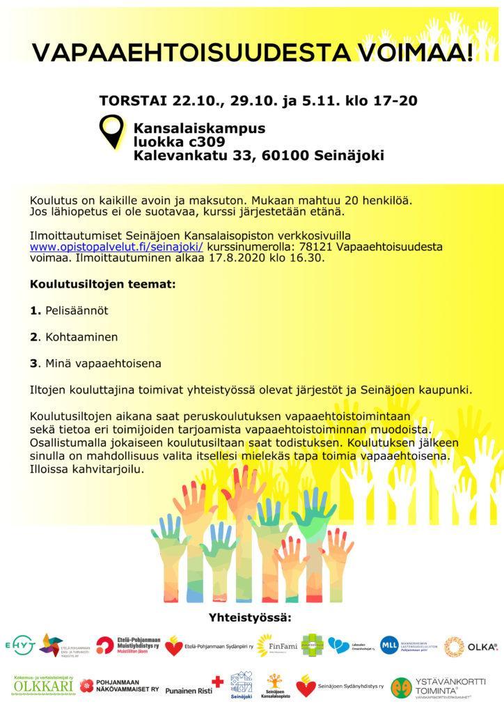 Vapaaehtoisuudesta Voimaa vapaaehtoistyön peruskoulutuksen mainos.